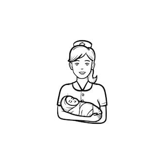 포장된 아이 손으로 그린 윤곽선 낙서 아이콘을 들고 있는 조산사. 흰색 배경에 격리된 인쇄, 웹, 모바일 및 인포그래픽을 위한 조산사의 손에 있는 갓난 아기 유아.