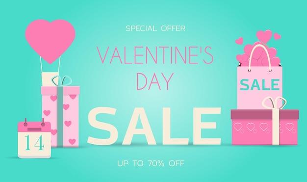 Мобильное приложение с распродажей на день святого валентина. плоские векторные иллюстрации, доставка товаров для интернет-магазина.