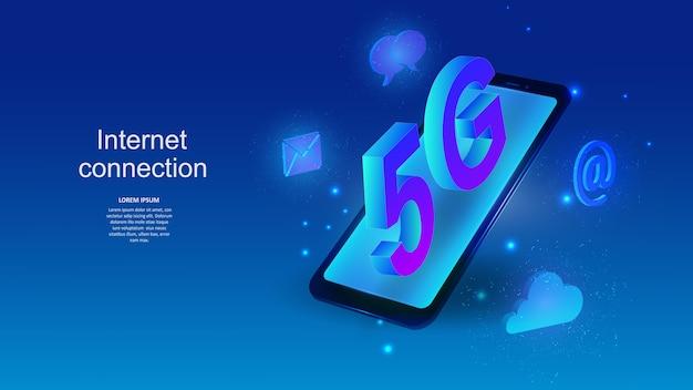 5gインターネット接続サイン付きの携帯電話。科学、未来、ウェブ、ネットワークコンセプト、コミュニケーション、ハイテク。