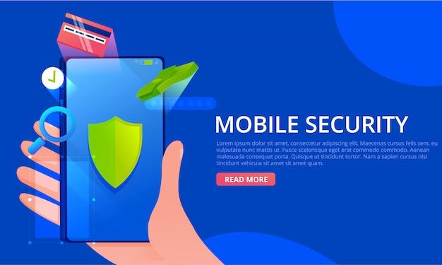 모바일 보안 배너. 손에 전화. 돈과 카드 아이콘 화면에 녹색 방패. 안전 개념. 프리미엄 벡터