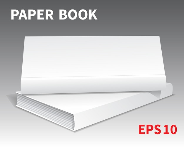 두 개의 흰색 책의 모형이 테이블에 놓여 있습니다.