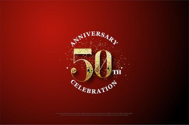 현대적이고 축제적인 50 주년 배경