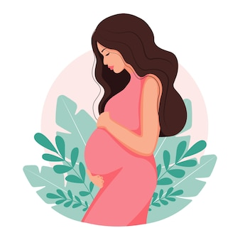 임신과 모성에 대한 현대적인 그림. 긴 머리를 가진 아름 다운 젊은 여자. 최소한의 디자인, 만화 플랫 스타일의 일러스트.