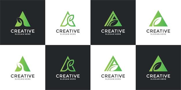 리프 세트 컨셉의 모노그램 로고 디자인
