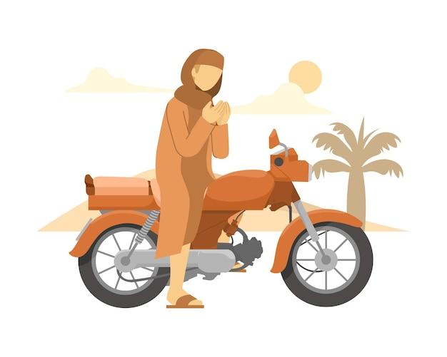 자전거를 타기 전에 기도하는 이슬람 남자 그림