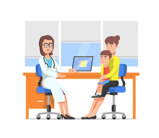 母親と子供が小児科医を訪問する