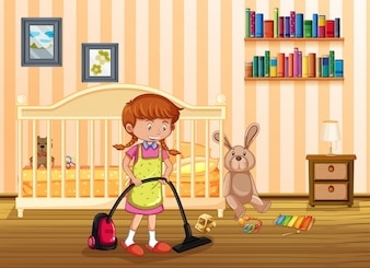 A Mother Cleaning Kid Bedroom