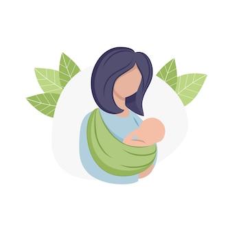 母親がカンガルーのキャリアスリングで赤ちゃんを抱いています。マタニティ、妊娠、出産。母親と子供のための子供向け製品。インターネット用に分離された白い背景の上のロゴ