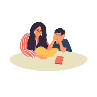 어머니는 그녀의 아들에게 책을 읽어줍니다. 엄마와 아들이 숙제를 하고 있다. 벡터 일러스트 레이 션