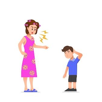 그녀의 아들 일러스트를 꾸짖는 어머니