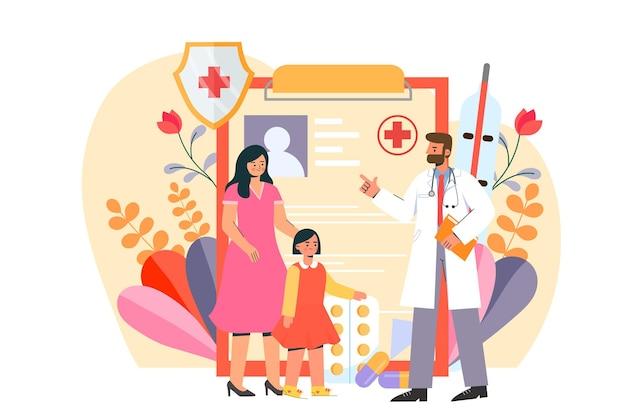 Мать ведет ребенка к врачу