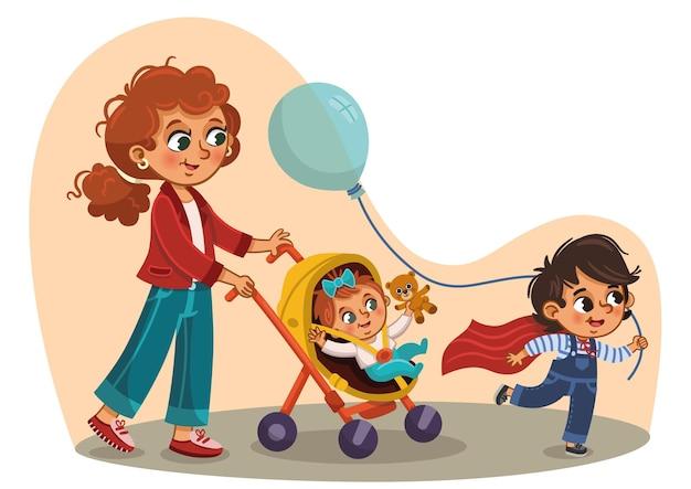 산책 벡터 일러스트 레이 션에 그녀의 아이들을 데리고 어머니