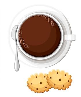 熱いお茶やコーヒーのマグ。チョコレートチップ入りクッキー。ホットドリンク。図webサイトページとモバイルアプリ要素。