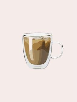 冷たいコーヒーが入ったマグカップ。ベクトルイラスト