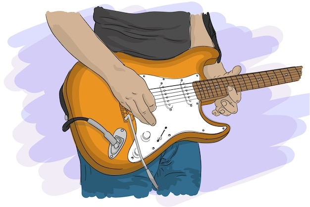 Музыкант играет на электрогитаре со струнами на концерте, крупный план.