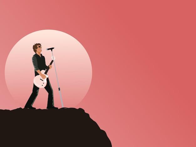 Музыкант играет на гитаре и поет на вершине горы на фоне луны и розового неба.