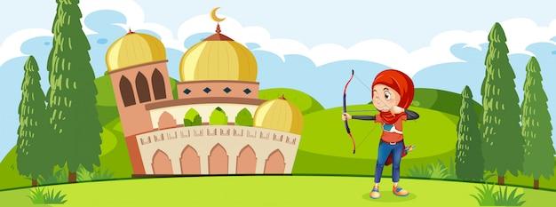 モスクの前で訓練イスラム教徒のアーチェリー