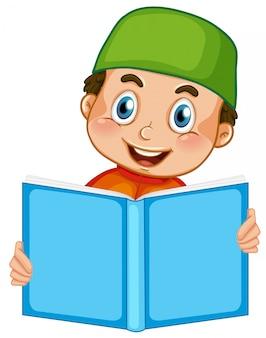 흰색 배경에 읽는 이슬람 소년