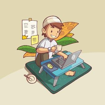 Ребенок-мусульманин делает что-то перед ноутбуком, держа в руке чашку кофе.