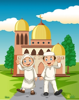 モスクの前のイスラム教徒のカップル