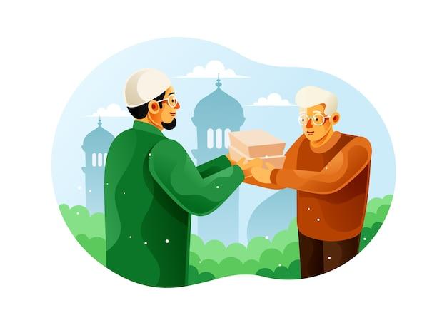 Мужчина-мусульманин делает пожертвования из коробки с едой