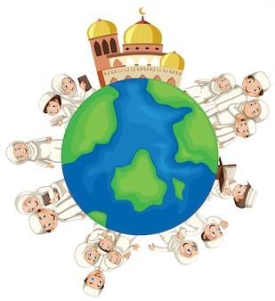 Мусульманские люди на земном шаре