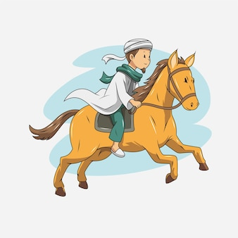 Иллюстрация мусульманина верхом на лошади