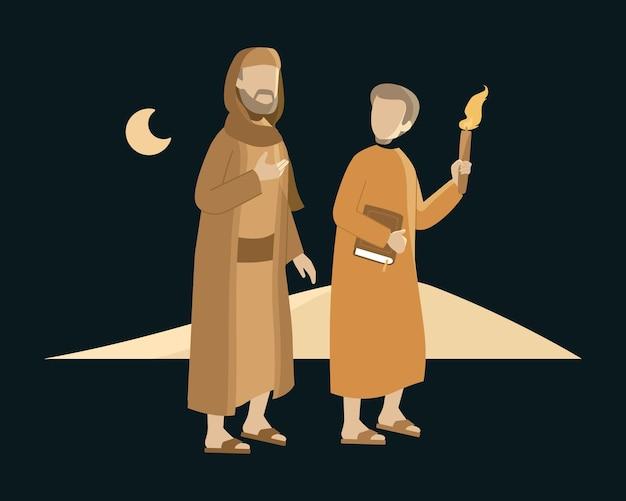 한 무슬림 학생이 밤에 사막에서 선생님과 함께 걷는다