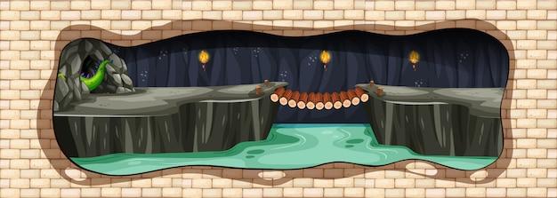 Тайная подземная драконькая пещера Premium векторы