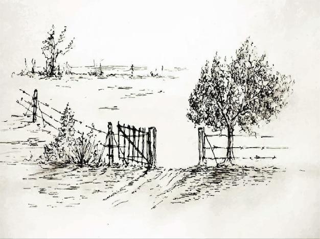 Картина акварелью дом фермы природы на бумажном фоне