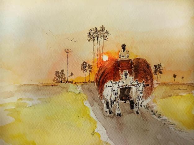 紙の背景にフィールド水彩風景画の性質