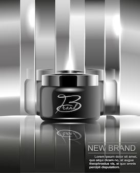 바디 크림을위한 새로운 화장품 브랜드. 미러 실버 배경에 디자인에 대 한 검은 플라스틱 항아리.