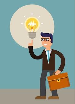 ビジネスマンの新しいアイデア。ベクトル漫画のキャラクターイラスト