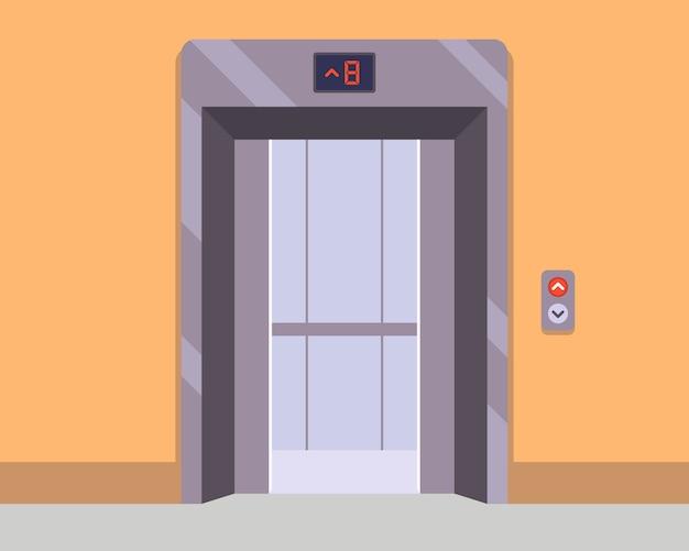 廊下の新しいエレベーターが乗客を待っています。フラットなイラスト。