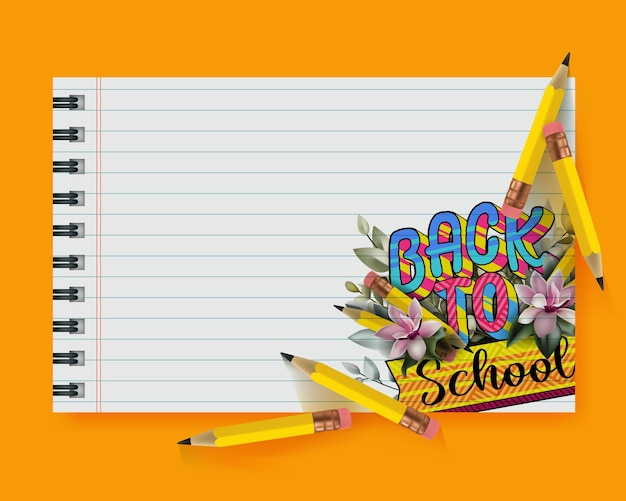 노란색 연필과 드로잉 교육 아이콘이 있는 메모지