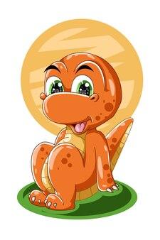 Оранжевый динозавр сидит дизайн животных мультфильм