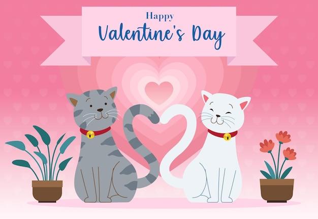 猫のペアが一緒に座っており、その尻尾はバレンタインデーを祝う心を形成しています