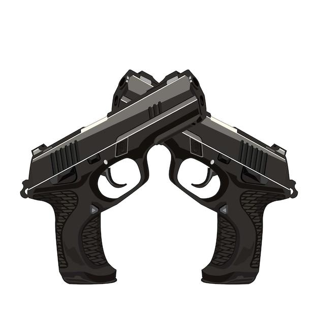 ヴィンテージのエッチングされた彫刻スタイルの交差したピストル銃のペア、レトロな武器のイラスト、リボルバー銃
