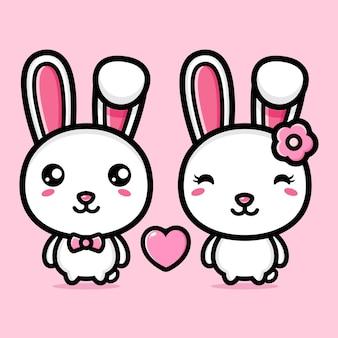 사랑에 빠진 귀여운 토끼 한 쌍