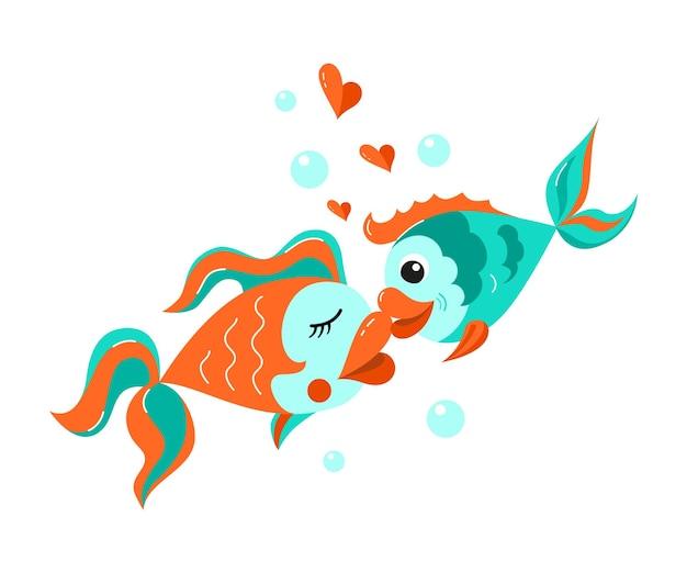 Пара влюбленных рыбок целуется. мультяшный стиль.