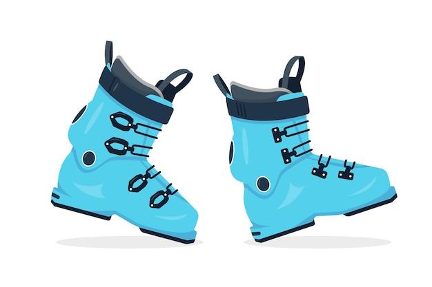 白い背景で隔離のスキー靴のペア。ウィンタースポーツ用品のアイコン。青いスキーブーツ。