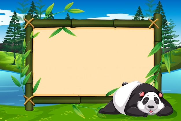 Панда на бамбуковой раме
