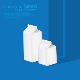 青い背景に牛乳や飲み物を入れるための紙箱