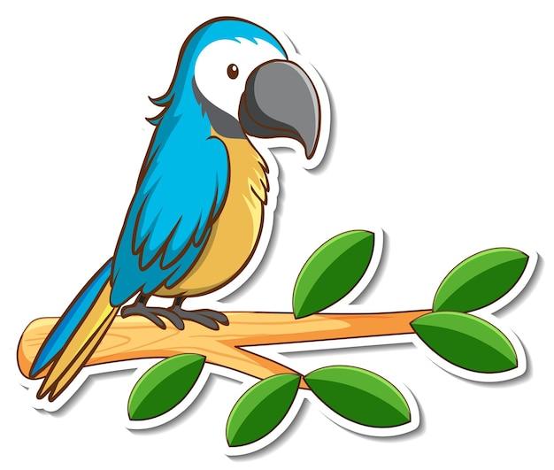 枝のステッカーの上に立っているオウムの鳥