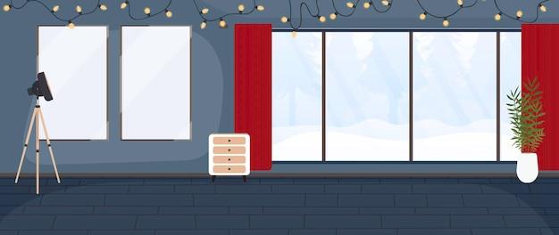 화환, 빨간 커튼, 숲이 내려다 보이는 탁 트인 창문이있는 파티 룸입니다.