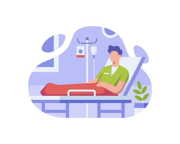 코로나 바이러스의 영향을받는 환자가 병원에서 치료를 받고 있습니다