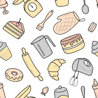 ベーキングツールと調理ツール、ミキサー、ケーキ、スプーン、カップケーキ、はかりのパターン。落書きスタイルのベクトルイラスト。白い背景に手描きで描かれたスケッチ。