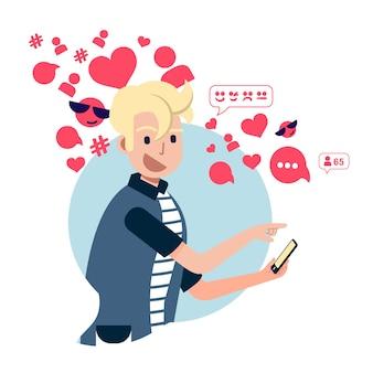 소셜 미디어에 중독 된 사람