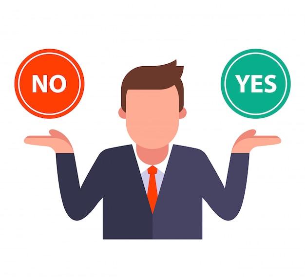 人は[はい]または[いいえ]のボタンを選択します。問題の痛みを伴う解決策。白い背景の上のフラットのキャライラスト。