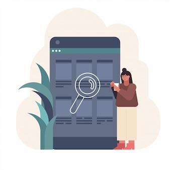 Человек ищет работу в своем смартфоне. концепция приложения для поиска.